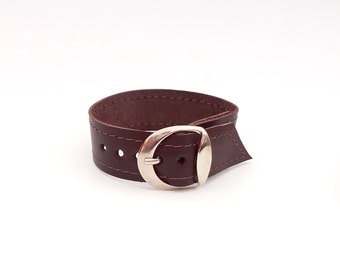 Maroon leather bracelet, Upcycled maroon leather cuff