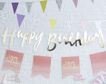 Gold Happy Birthday Bunting - Pick And Mix