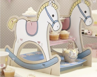 Rocking Horse 3 Tier Cake Stand - Rock A Bye Baby /Baby Shower/ 1st Birthday Decorations