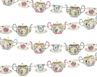Alice In Wonderland Inspired  Party Banner/ Bunting Teapots
