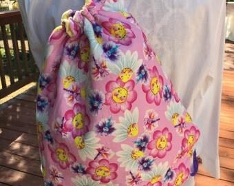 Backpack, Drawstring Bag, Pink Daisy