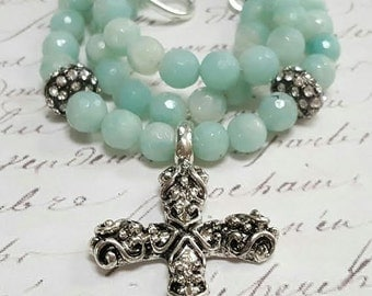 Amazonite Beaded Necklace Cross Necklace
