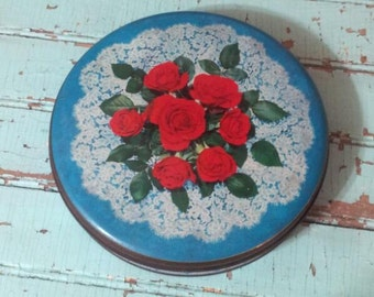 Beautiful Vintage 1950's Edward Sharp & Son Ltd. Round Biscuit Tin Red Roses Lace