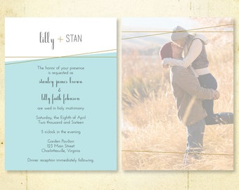 DIY Printable Wedding Invitation Template Suite with Reply/Detail Card | Teal & Accents | Editable | Print at Home