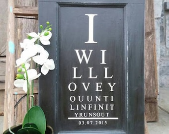 Eye Chart, Decor, Doctor Valentine Gift, Home Wall Hanging, Distressed, Annie Sloan, Chalk Paint, Bathroom, Living Room, Bedroom, Den