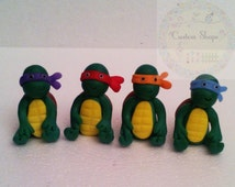 Set of 4 Ninja Turtle to Capucakes handmade Cake Topper polymer (cold porcelain) #EtsyGifts