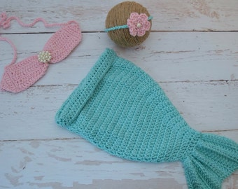 Mermaid costume, baby halloween costume, crochet mermaid set, crochet baby mermaid, mermaid photo prop, crochet baby set, baby girl set