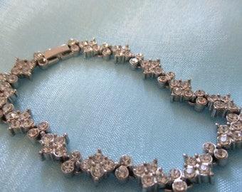 Prom Jewelry, Rhinestone and Silver Tone Bracelet