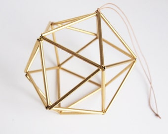 Himmeli Golden Orb. Scandinavian Geometric Ornament (Handmade in Paris). Table Decoration, Party Decoration, or other!