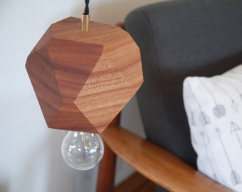 Geometric Sapele Faceted Block Pendant Lamp - Wood Pendant Lamp - Brass and Sapele - Minimalist and Modern Design