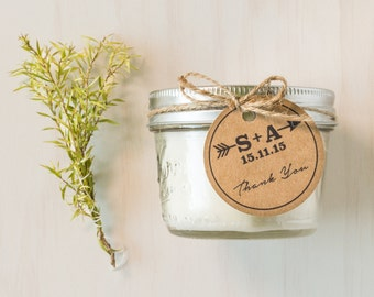 Mason Jar soy candle wedding favour gift. Completely custom, swing tag. Hand made.