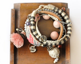 Gypsy Bangles Set - Pink and Beige Bangle - Gupsy Gemstone bangles - Boho Bangles - Tribal Bracelets - Beaded Bangles - Free Shipping