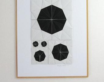 Origami Sketch No26 Black - Original Paper Collage - Modern Home Decor - Black & White Minimalist Art - Geometric Circles Paper Anniversary