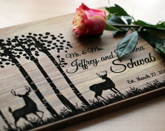 Gift for couple Wedding gift Love Tree Personalized Cutting Board Wedding cutting board  Bridal Shower Gift Chopping Block Anniversary Gift