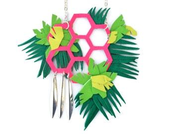 Geometric Necklace, Plant Necklace, Tropical Necklace, Neon Necklace, Leaf Necklace, Terrarium Necklace, Green Necklace, Palm Tree Necklace