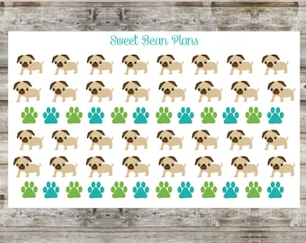 50+ Cute Pug Planner Stickers