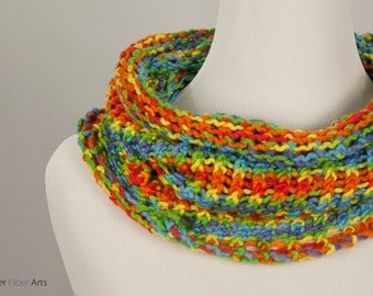Roy G. Biv Handmade Cowl - Loom Knit, Rainbow, Spectrum, Red, Orange, Yellow, Green, Blue, Violet, One of a Kind, Ready to Ship