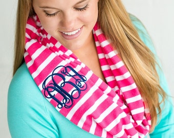 Stripe Scarf Matching Mother Daughter Scarf (Available in Hot Pink or Mint)