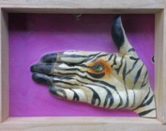 Zebra ( purple background ) hand animal