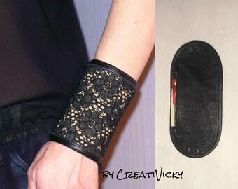 Leather Lace cuff wallet, Wrist wallet, Bracelet purse, Bracelet Wallet, secret band, jewelry, Leather Wrist, Leather cuff, cuff money