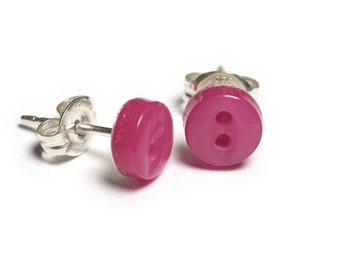 Tiny Button Stud Earrings - Hot Bright Pink 6mm - Sterling Silver or Surgical Steel