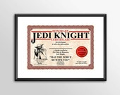 Honorary Jedi Knight Cert...