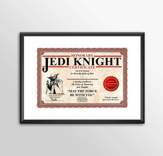 Honorary jedi knight certificate personalised star wars for Jedi knight certificate