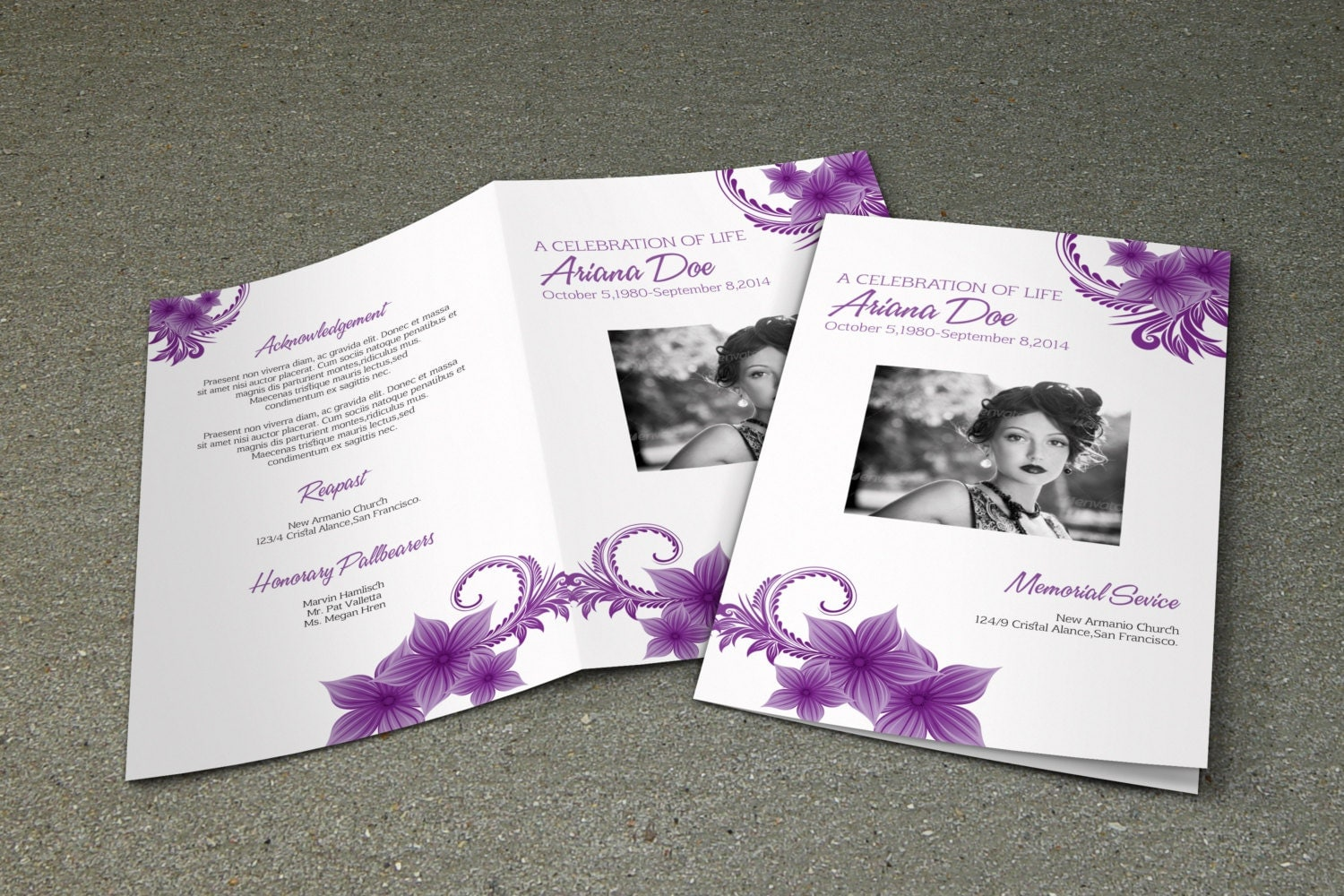 purple flower funeral program template printable memorial. Black Bedroom Furniture Sets. Home Design Ideas