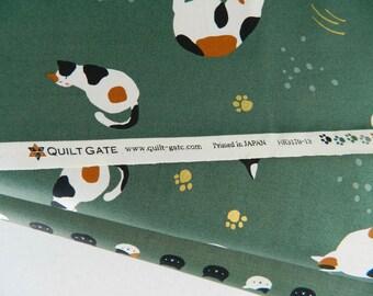 Neko Cats Green By Quilt Gate Japan