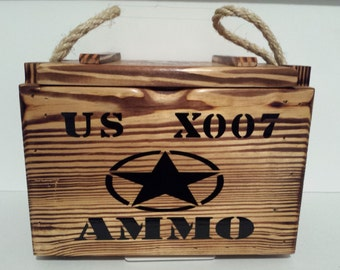 Ammo Box, keepsake box, military box, handmade gifts, wood ammo box