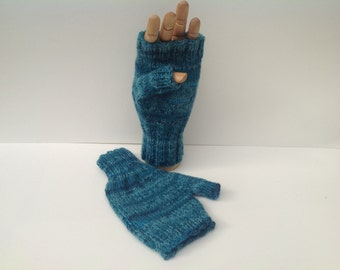 Fingerless mittens , texting gloves, driving gloves , Teal , turquoise shades stripy wool /nylon  sock yarn yarn