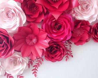 Shades Of Pink Large Paper Flowers - Wedding Floral Decorations - Shades of Pink Wedding Backdrop