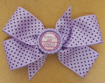 Purple Polka dot Hairbow for Newborns, Toddler, and Girl Hairbow