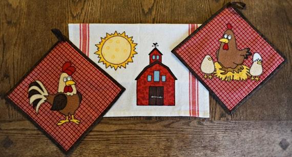 Farm Kitchen Applique Pdf Quilt Pattern Barn Applique Tea