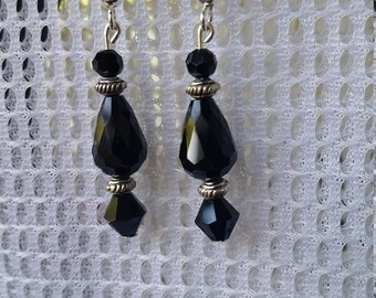 Beautiful Black glass bead earrings