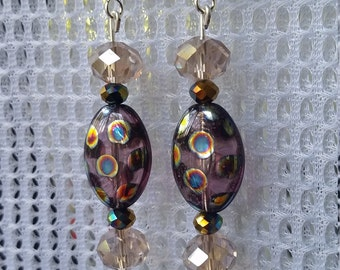 Purple iridescent spotted earrings