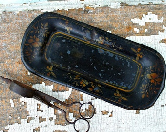 Antique WICK TRIMMER with  Tin Tole TRAY-Vintage Lighting Accessory