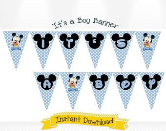 Disney Baby Mickey Mouse Baby Shower It's a Boy Banner INSTANT DOWNLOAD Baby Mickey Invitations, Baby Mickey Banner, Baby Mickey Decorations