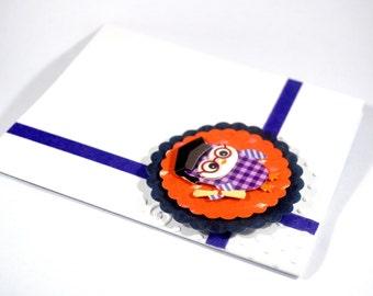 Graduation card/ Owl graduation card/ Purple owl card