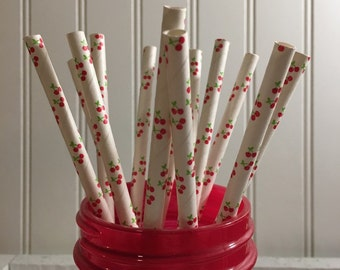 Cherry Straws, Paper Straws , 25, Party , Drinks, Cup, Straws ,Cherries