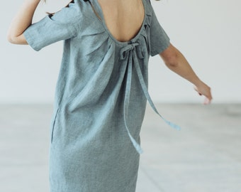 Natural Linen Dress With Pleated Back Motumo - 14S9