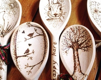 Pyrography wooden spoon, personalised gift, add a name, pagan gift, hare, tree of life, dandelion, birds, handmade