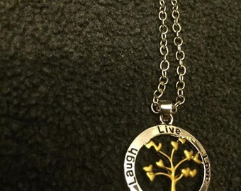 Laugh, Live, Love And Family Necklace