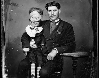 Vintage creepy photo ventriloquist dummy print poster weird strange unusual antique photograph old picture 1800s