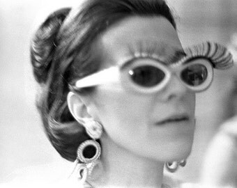 Vintage photo antique photograph woman wearing funky sunglasses with eyelashes mod 1960s fashion photography- PRINT