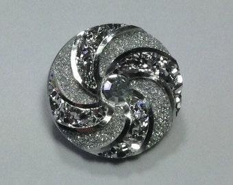 1- 18mm SILVER ON SILVER Metallic Swirl Snap Button