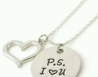 PS I love you necklace, hand stamped