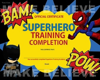 Superhero Party Training Completion Certificate