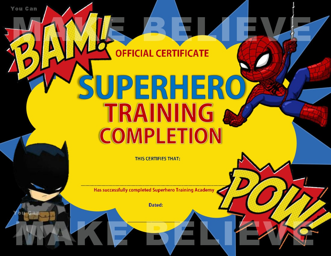 Superhero Party Training Completion Certificate Superhero