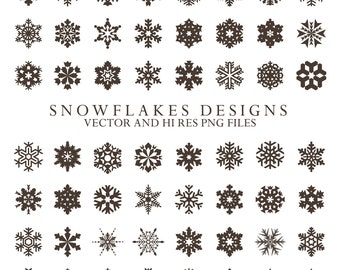 Snowflake Clipart - Christmas Clipart Snow Frost Clipart Clip Art PNG & Vector EPS, AI Design Elements Digital Instant Download